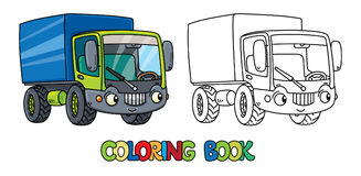 Funny small lorry with eyes. Coloring book Royalty Free Stock Images