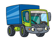 Funny small lorry with eyes. Thuck or Lorry. Small funny vector cute car for kids with eyes and mouth. Children vector illustration vector illustration