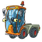 Funny small municipal sweeper car with eyes. Municipal sweeper. Small funny vector cute car with eyes and mouth. Children vector illustration. Municipal Stock Image