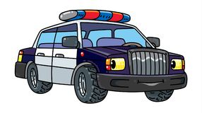Funny small police car with eyes Royalty Free Stock Photography