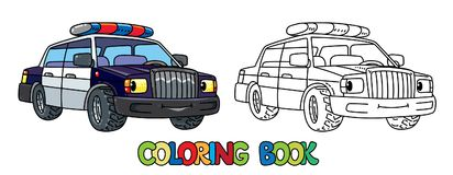 Funny Small Police Car With Eyes. Coloring Book Royalty Free Stock Images