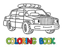 Funny Small Police Car With Eyes. Coloring Book Stock Photos