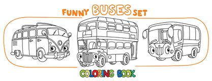 Funny small retro bus with eyes. Coloring book set vector illustration