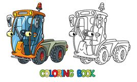 Funny small sweeper car with eyes. Coloring book. Municipal sweeper coloring book. Small funny vector cute car with eyes and mouth. Children vector illustration vector illustration