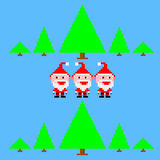 Funny small three Santa Claus in retro forest. Illustration Stock Illustration