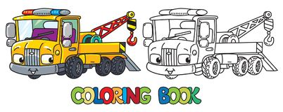 Funny small tow truck with eyes. Coloring book. Tow Truck coloring book for kids. Small funny vector cute car with eyes and mouth. Children vector illustration Stock Photography
