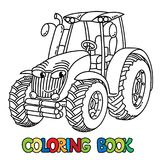 Funny small tractor with eyes. Coloring book. Tractor coloring book for kids. Small funny vector cute car with eyes and mouth. Children vector illustration stock illustration