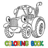 Funny small tractor with eyes. Coloring book Royalty Free Stock Photos