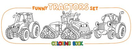 Funny small tractor set with eyes. Coloring book. Tractor coloring book set for kids. Small funny vector cute cars with eyes and mouth. Children vector Royalty Free Stock Photo