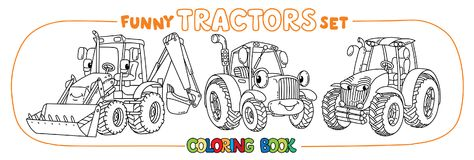 Funny small tractor set with eyes. Coloring book. Tractor coloring book set for kids. Small funny vector cute cars with eyes and mouth. Children vector Stock Photos