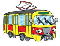 Funny small tram or tramway with eyes. Tram or tramway. Small funny vector cute car with eyes and mouth. Children vector illustration Royalty Free Stock Photos
