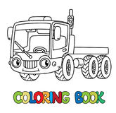 Funny small truck with eyes. Coloring book Royalty Free Stock Images