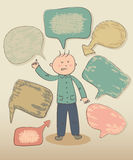 Funny smart boy with speech bubbles Stock Images
