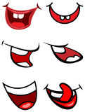 Funny smile mouths. Line art funny cartoon smile mouths vector illustration