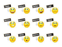Funny smiles emotions with plates Stock Images