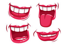 Funny smiling mouths vector set. A vector set of funny smiling female and male mouths in various facial expressions vector illustration