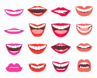 Funny smiles vector set. A set of funny smiling female and male mouths in various facial expressions vector illustration