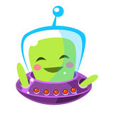 Funny smiley alien, cute cartoon monster. Colorful vector Illustration Royalty Free Stock Image