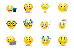 Funny smiley collection on the topic: teaching and learning in s. Vector smiley faces with the elements of school subjects Royalty Free Stock Photo