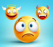 Funny smiley vector character thinking choice between good angel. And bad demon about decision. Vector illustration Stock Images