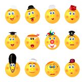 Funny smileys profession icons;yellow;round different emotions vector illustration