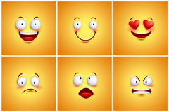 Funny smileys vector poster wallpaper backgrounds set. With different facial expressions and emotions. Vector illustration Stock Images
