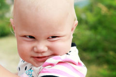 Funny smiling baby girl closeup portrait Royalty Free Stock Images