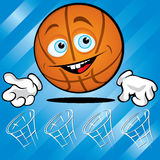 Funny smiling basket ball. On the blue background Royalty Free Stock Photos