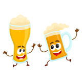 Funny smiling beer glass and mug character friends having fun Stock Photography