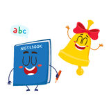 Funny smiling bell and notebook characters, back to school concept Royalty Free Stock Photography