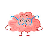 Funny smiling brain in round glasses, symbol of education Stock Image