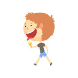 Funny smiling cartoon boy eating ice cream, colorful character vector Illustration Stock Image