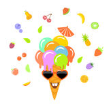 Funny smiling cartoon ice cream in waffle cone,. Berries and fruits around Stock Photos