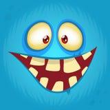 Funny smiling cartoon monster face avatar. Halloween monster character. stock photo