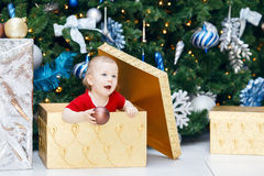 Funny smiling Caucasian baby girl toddler in red holiday dress sitting in large gift present box  under New Year tree Stock Photo