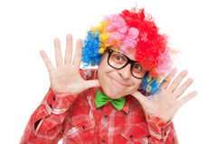 Funny smiling clown. Isolated on white background Stock Image