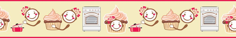 Funny smiling cook and cupcake. Seamless border for menu design. Illustration Royalty Free Stock Images