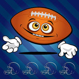 Funny smiling football ball. On the dark blue background Royalty Free Stock Photography