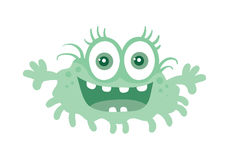 Funny Smiling Germ. Blue Cartoon Character. Vector Royalty Free Stock Photos
