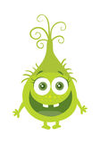 Funny Smiling Germ Green Cartoon Character. Vector. Funny smiling germ. Green cartoon character with big eyes. Happy monster with tooth. Bacteria with hands and Stock Image