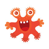 Funny Smiling Germ. Red Monster Character. Vector. Funny smiling germ. Red smile character. Happy monster with tooth. Bacteria with big eyes and red mouth Stock Photos