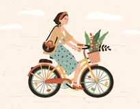 Free Funny Smiling Girl Dressed In Stylish Clothes Riding Bicycle With Flower Bouquet In Front Basket. Cute Happy Young Woman Royalty Free Stock Photo - 151493565
