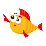 Funny smiling golden, yellow fish character pointing and looking at something Stock Photos
