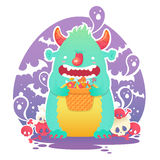 Funny smiling Halloween fluffy monster character Stock Photos