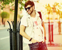 Funny Smiling Hipster Handsome Man In Hipster Cloth In The Street Stock Photography
