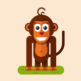 Funny smiling monkey. Flat style vector character illustration of funny smiling monkey Stock Photo