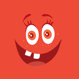 Funny Smiling Monster Red Smile Bacteria Character. Funny smiling monster. Red smile character. Happy germ with tooth. Monster with big eyes and red mouth Stock Image
