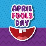 Funny smiling mouth april fools day dotted zig zag background. Vector illustration Royalty Free Stock Photo