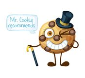 Funny smiling Mr Cookie character choc chip cookie. Funny smiling Mr Cookie character. Choc chip cookies emoji icon isolated on white background. Cartoon vector Royalty Free Stock Photos