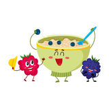 Funny smiling oatmeal porridge bowl and raspberry, blackberry berry characters Royalty Free Stock Image